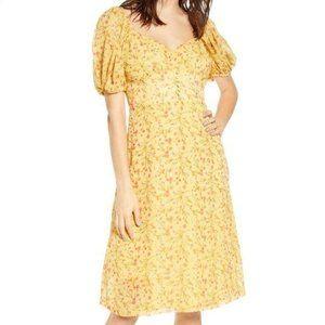 J.O.A. Puff Sleeve Bustier A-Line Dress Yellow M N